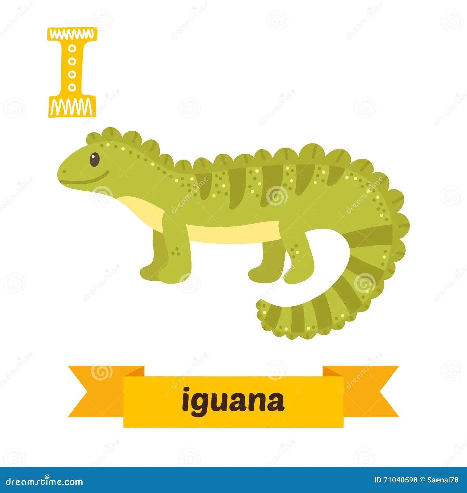 Iguana I Letter Cute Children Animal Alphabet In Vector
