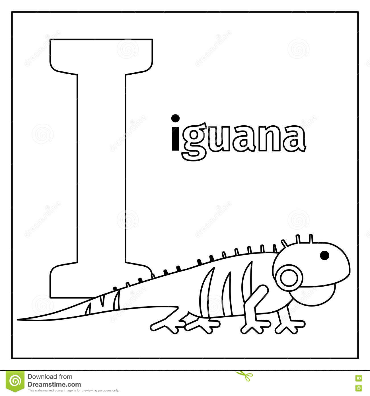 Iguana Letter I Coloring Page Stock Vector