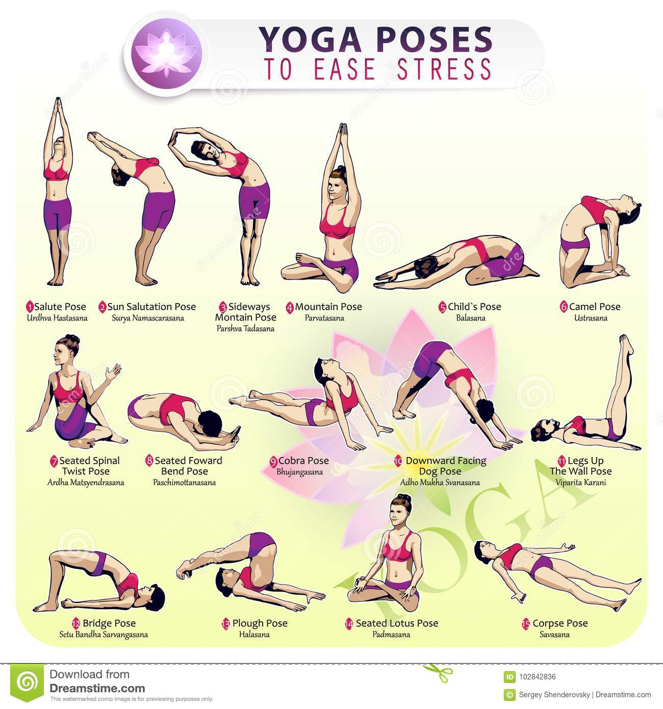 Yoga Pose To Ease Stress Stock Vector Illustration Of