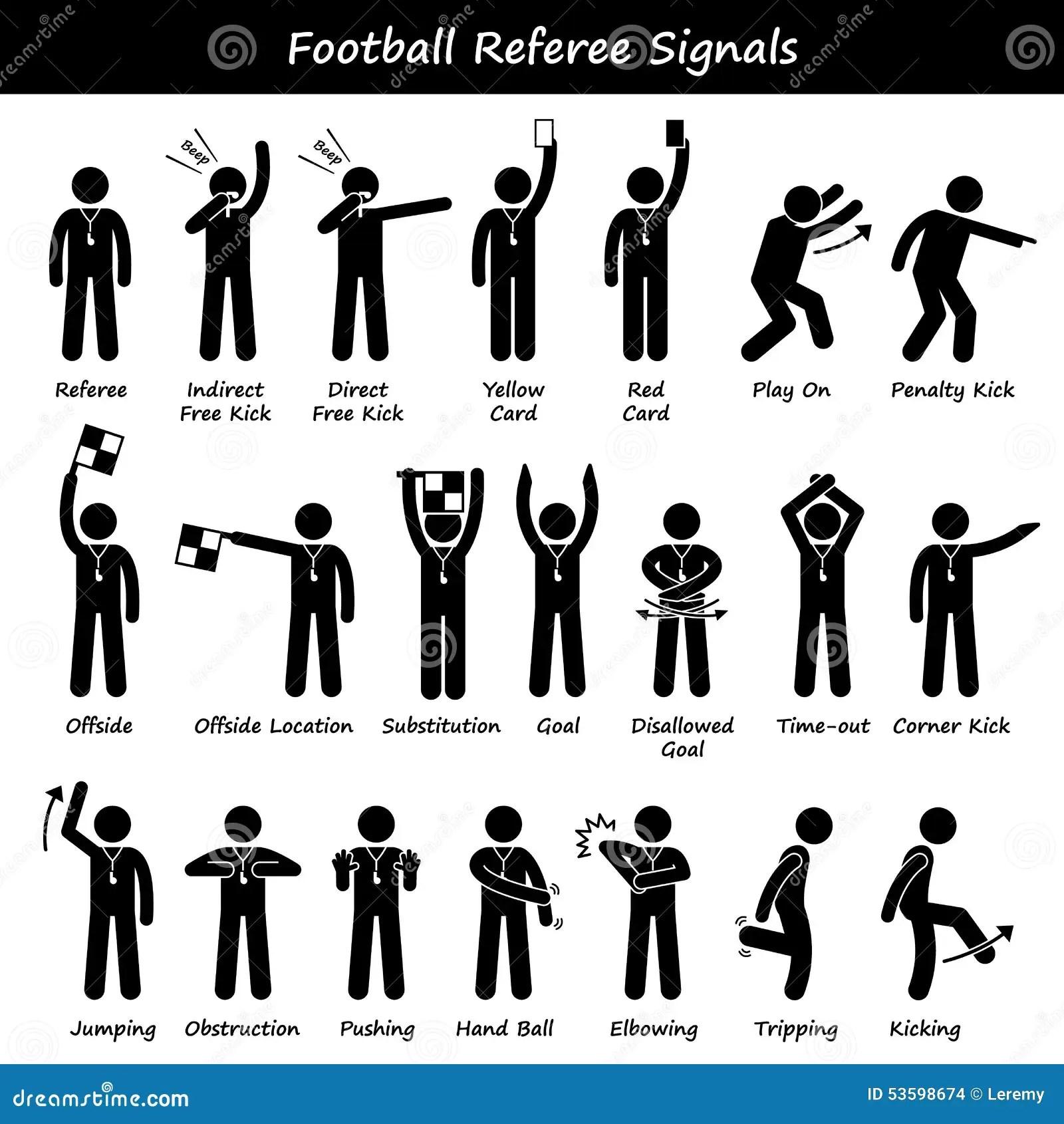 Il Calcio Di Calcio Arbitra I Clipart Dei Segnali Manuali