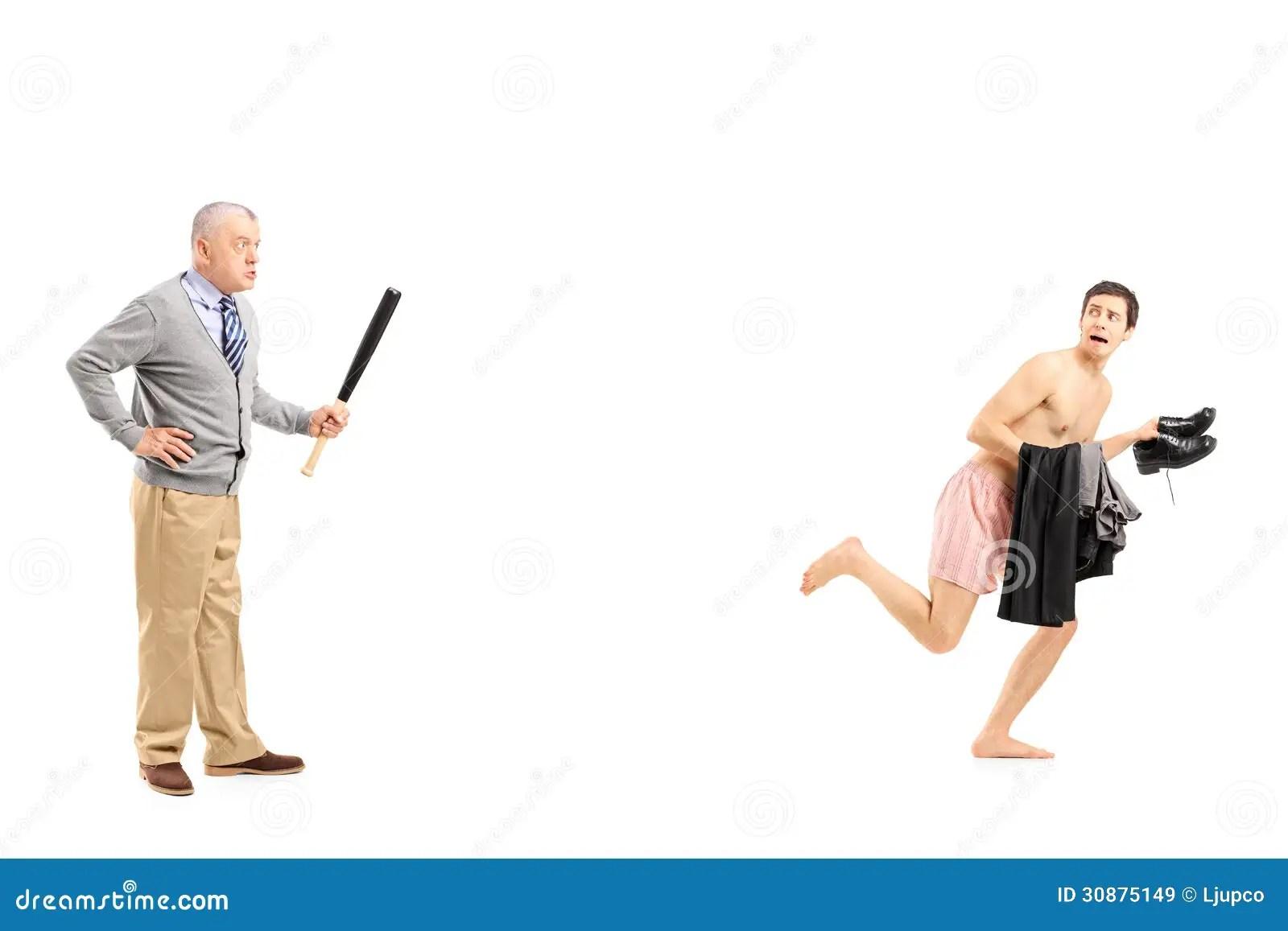 Il Mezzo Ha Invecchiato L Uomo Con La Mazza Da Baseball