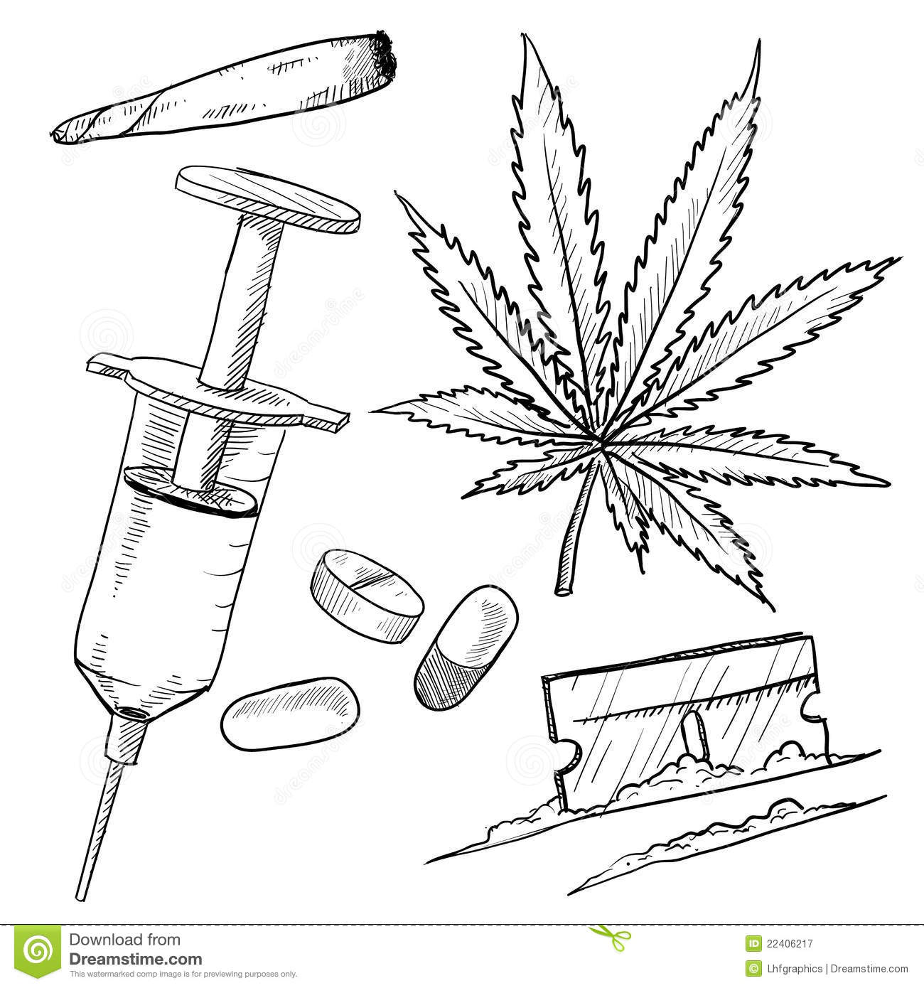 Illegal drugs drawing stock vector. Illustration of high