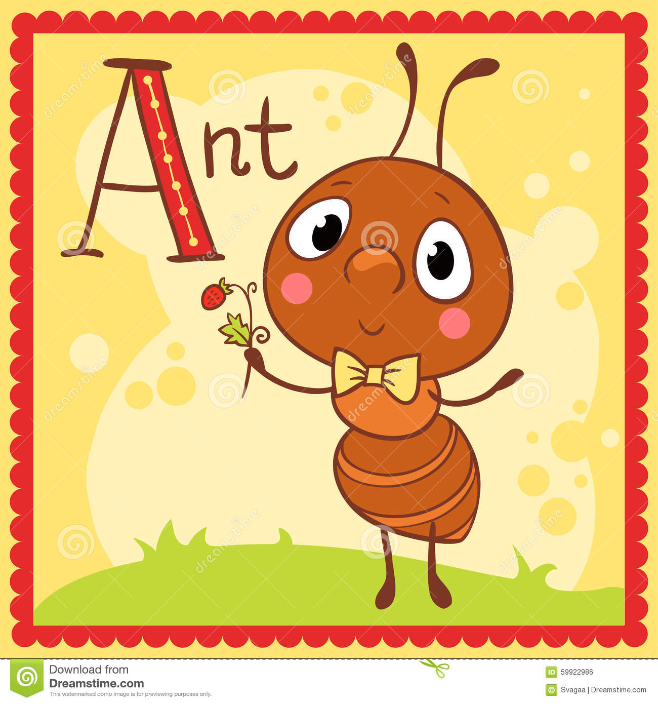 Illustrated Alphabet Letter A And Ant Cartoon Vector
