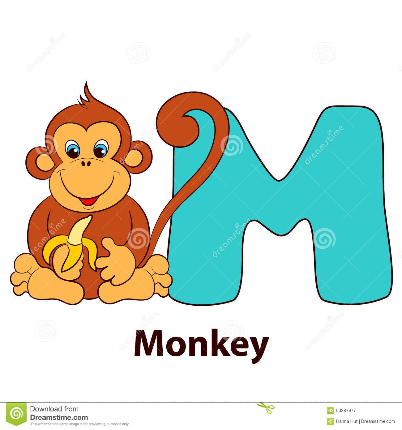 Illustrated Alphabet Letter M And Monkey Stock Vector