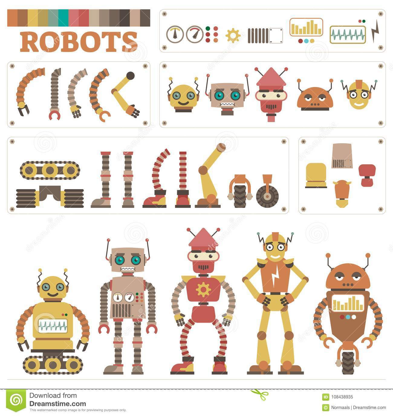 Illustrated Vector Robot Parts Collection Kit Stock Vector