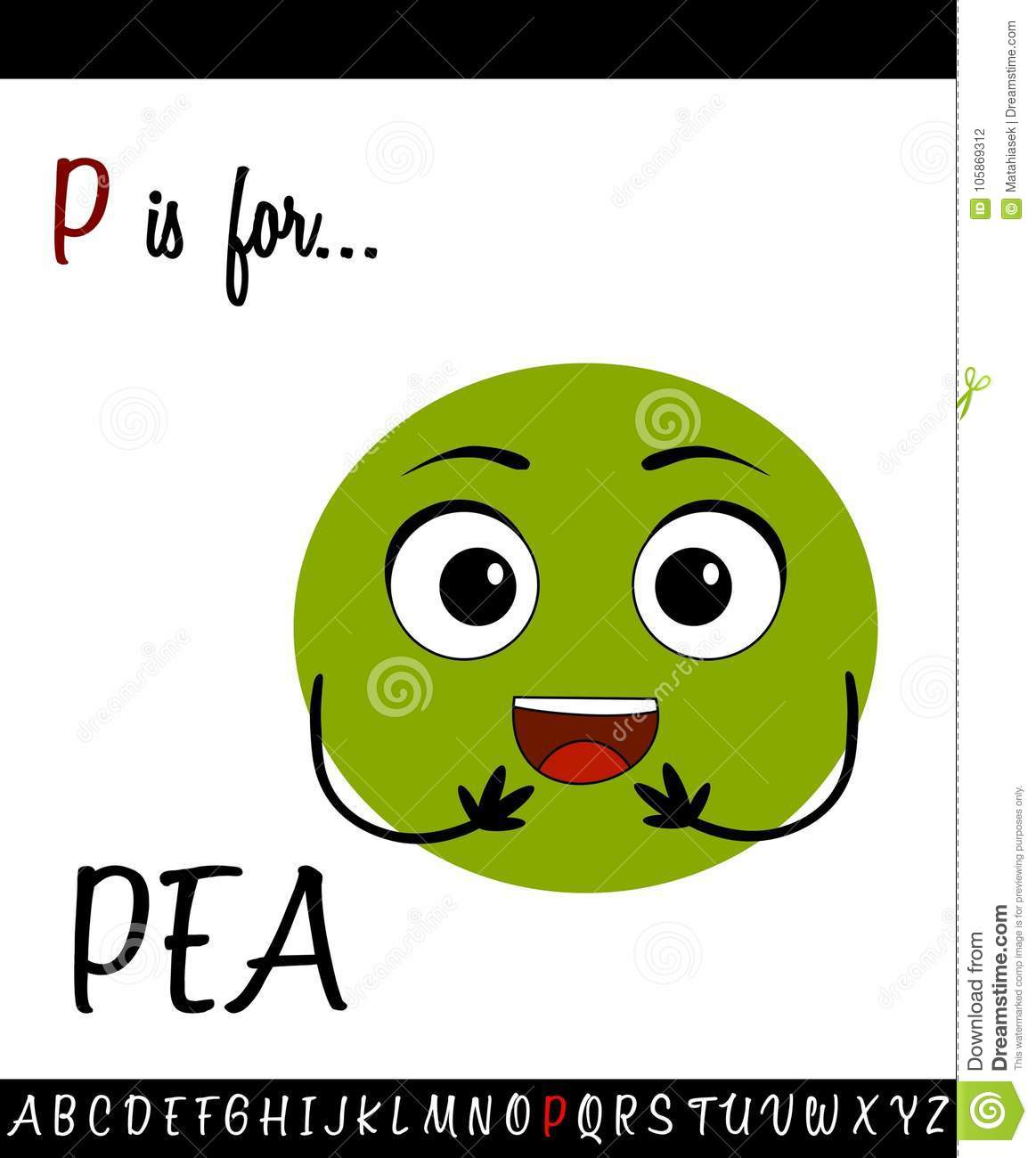 Illustrated Vocabulary Worksheet Card With Cartoon Pea