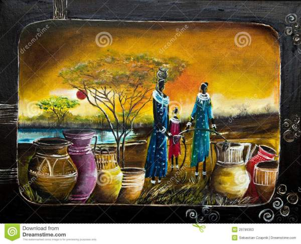 African Women Oil Painting Stock Of Dresses