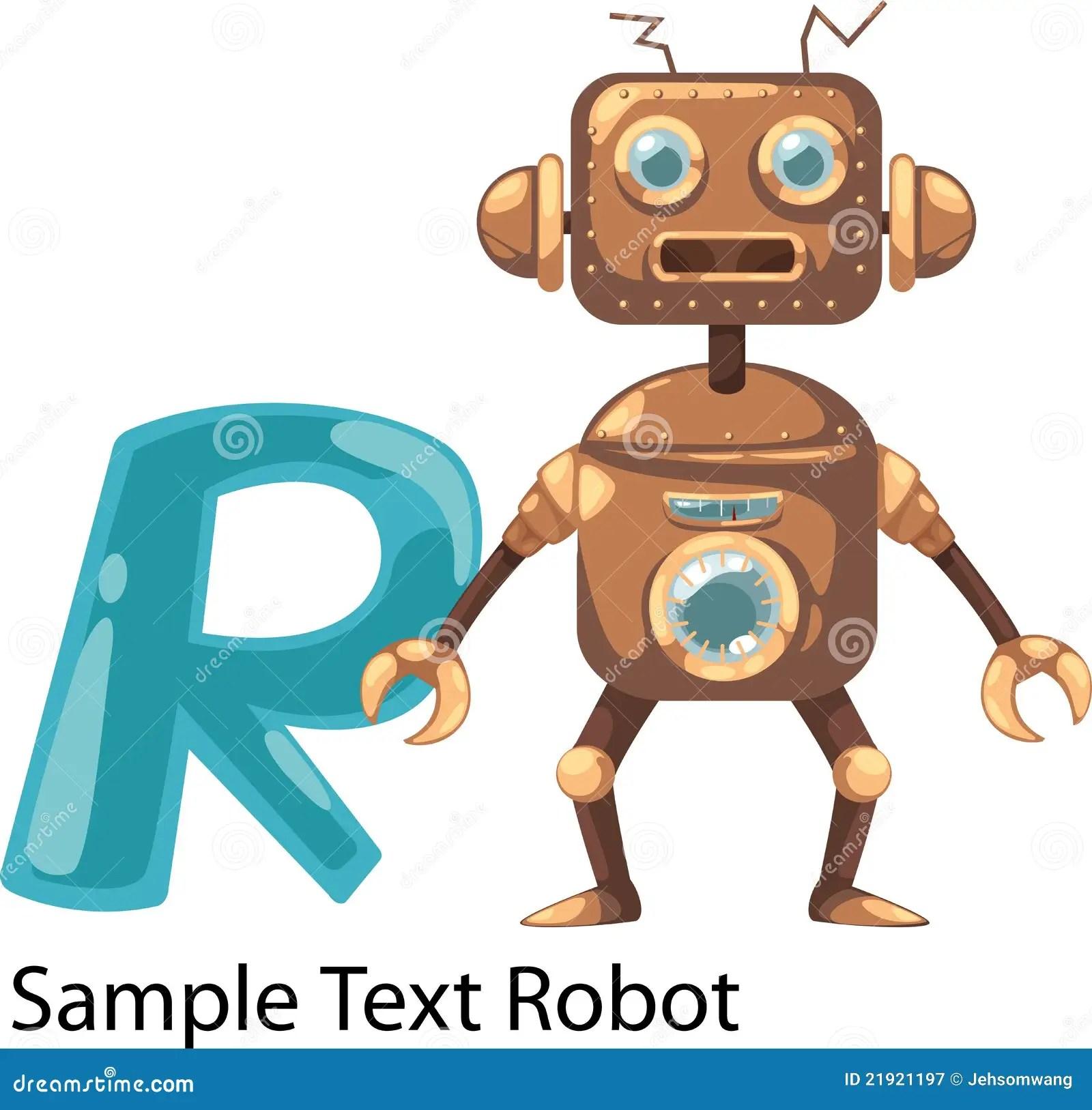 Illustration Alphabet Letter R Robot Stock Vector