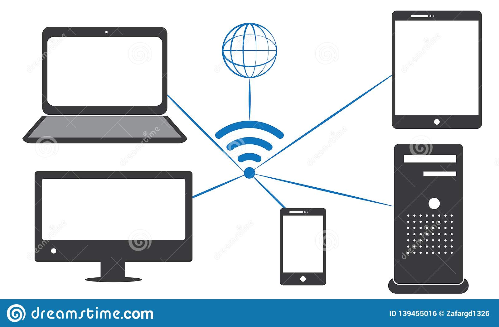 hight resolution of all electronic devices are connected by wifi computer mobile laptop cpu lcd tv
