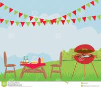 Illustration Of Backyard Bbq Scene - 2 Vector Illustration ...