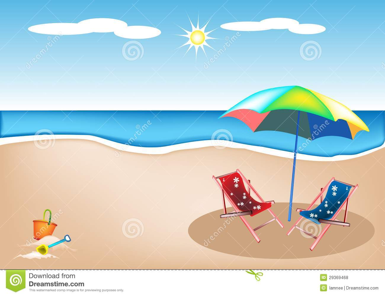 folding chair for less big round bamboo illustration of beach chairs with umbrella and toy royalty free stock photos - image: 29369468