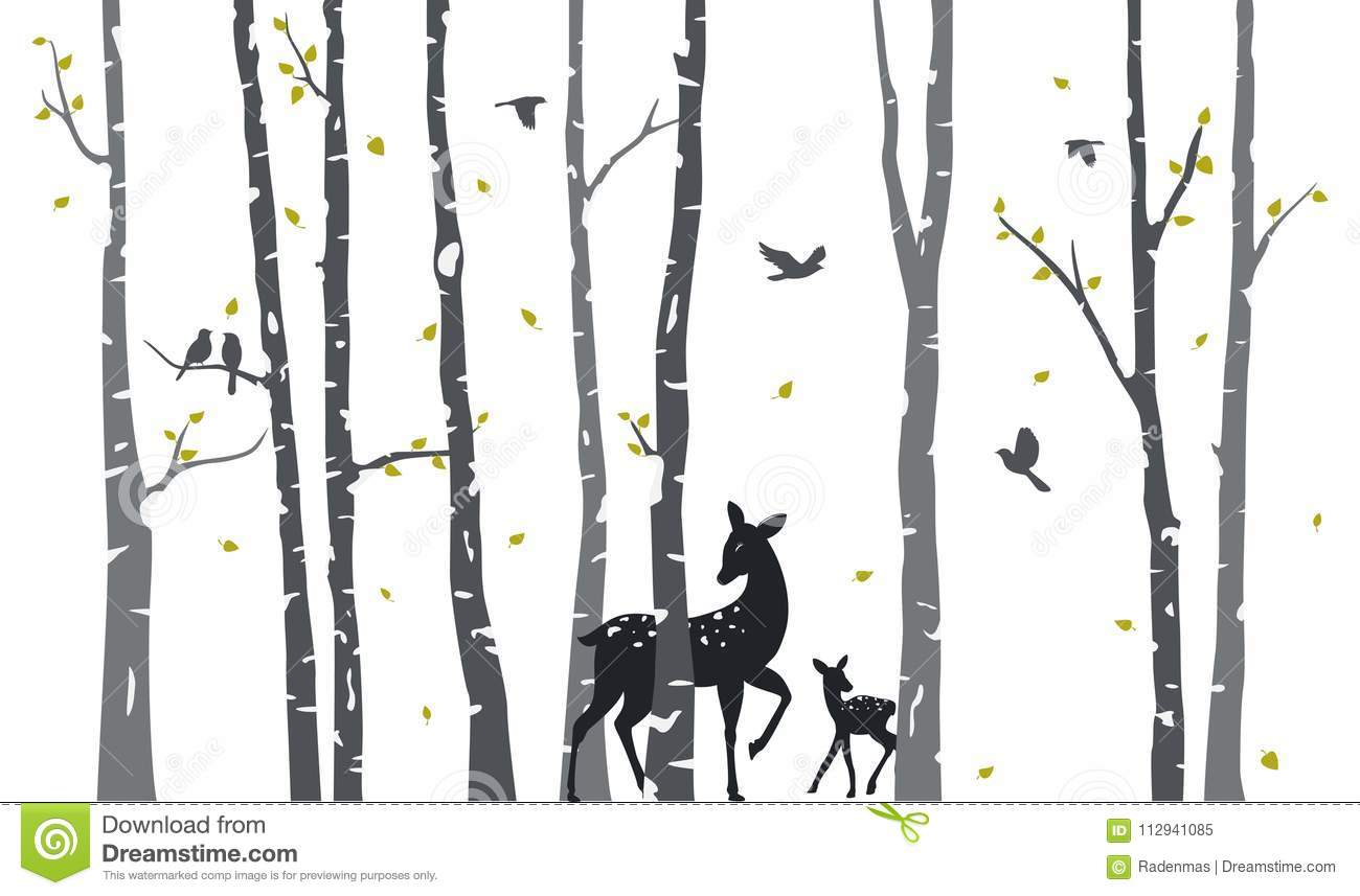 Birch Tree With Deer And Birds Silhouette Background Stock