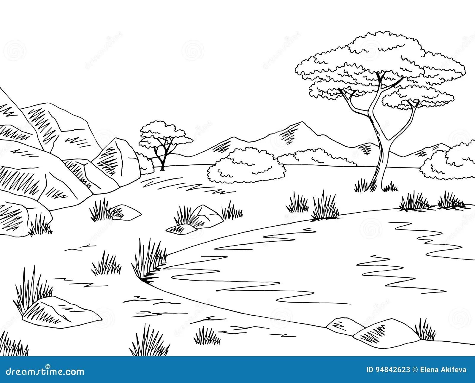 Illustration Blanche Noire Graphique De Croquis De Paysage