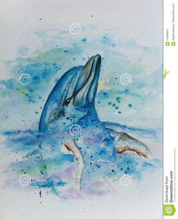Hand Painted Dolphin Watercolor Stock Illustration