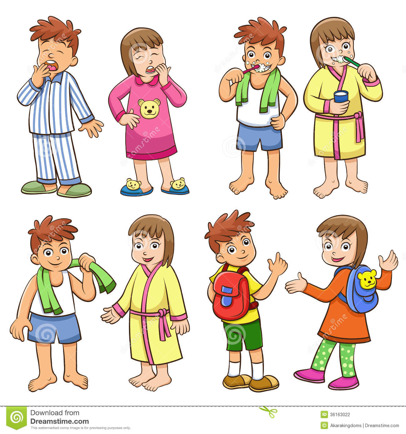 Illustration Of Boy And Girl Daily Morning Life Stock