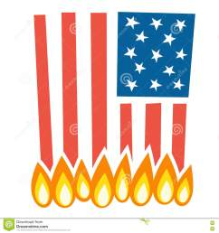 illustration of burning american flag [ 1300 x 1390 Pixel ]