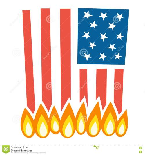 small resolution of illustration of burning american flag