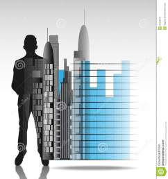 illustration of business man with office skyline and chart isolated illustration 36342247 megapixl [ 1227 x 1300 Pixel ]