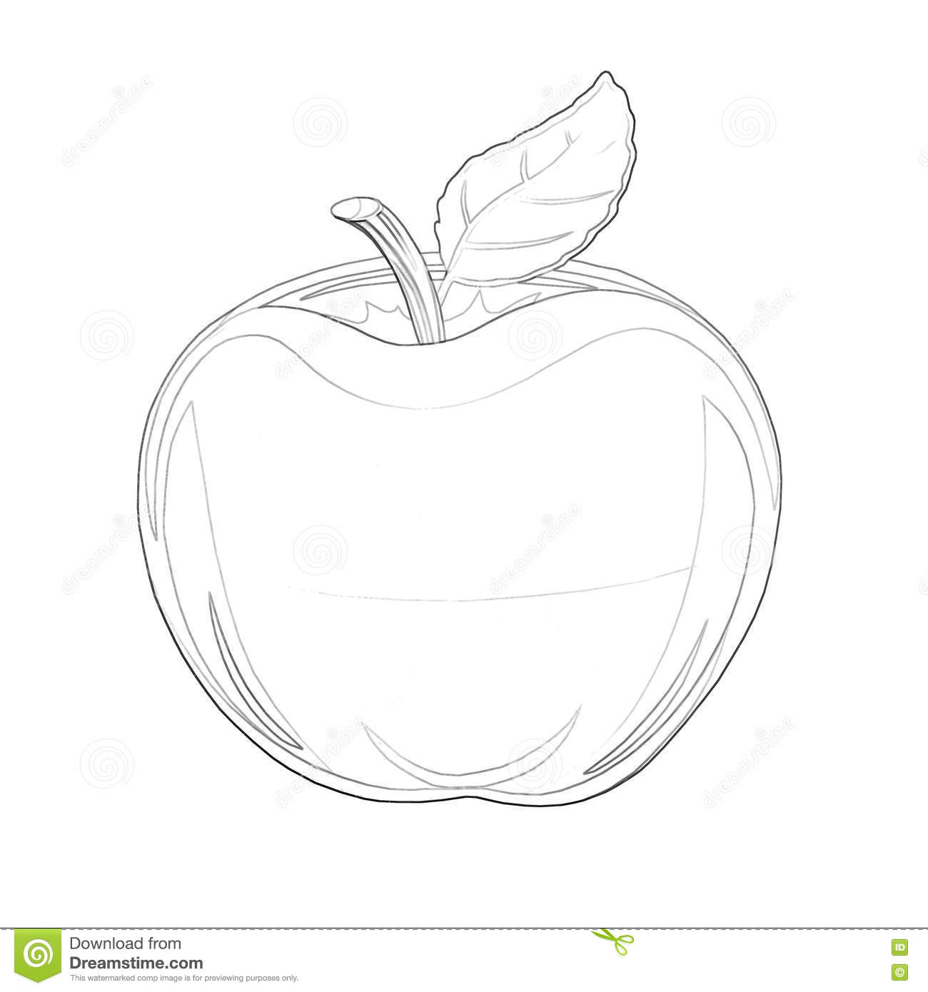 Illustration: Coloring Book Series: Apple. Soft Thin Line