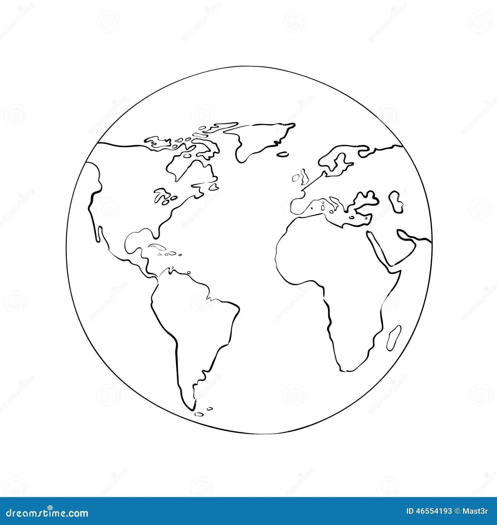 Illustration De Vecteur De Noir De Carte Du Monde De Globe De Croquis Illustration De Vecteur
