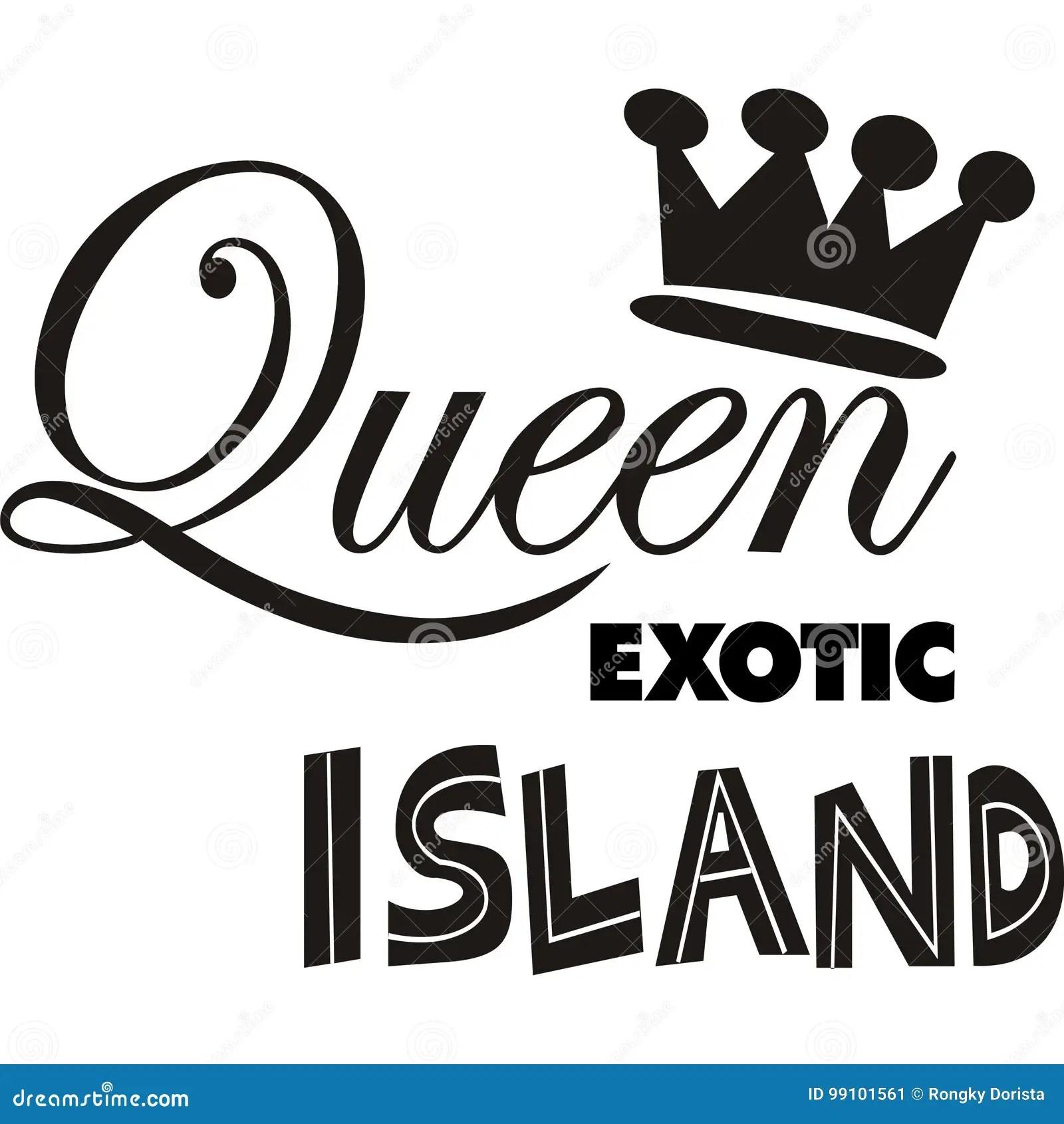 Illustration Design Queen Exotic Island Vector Sillhoutte