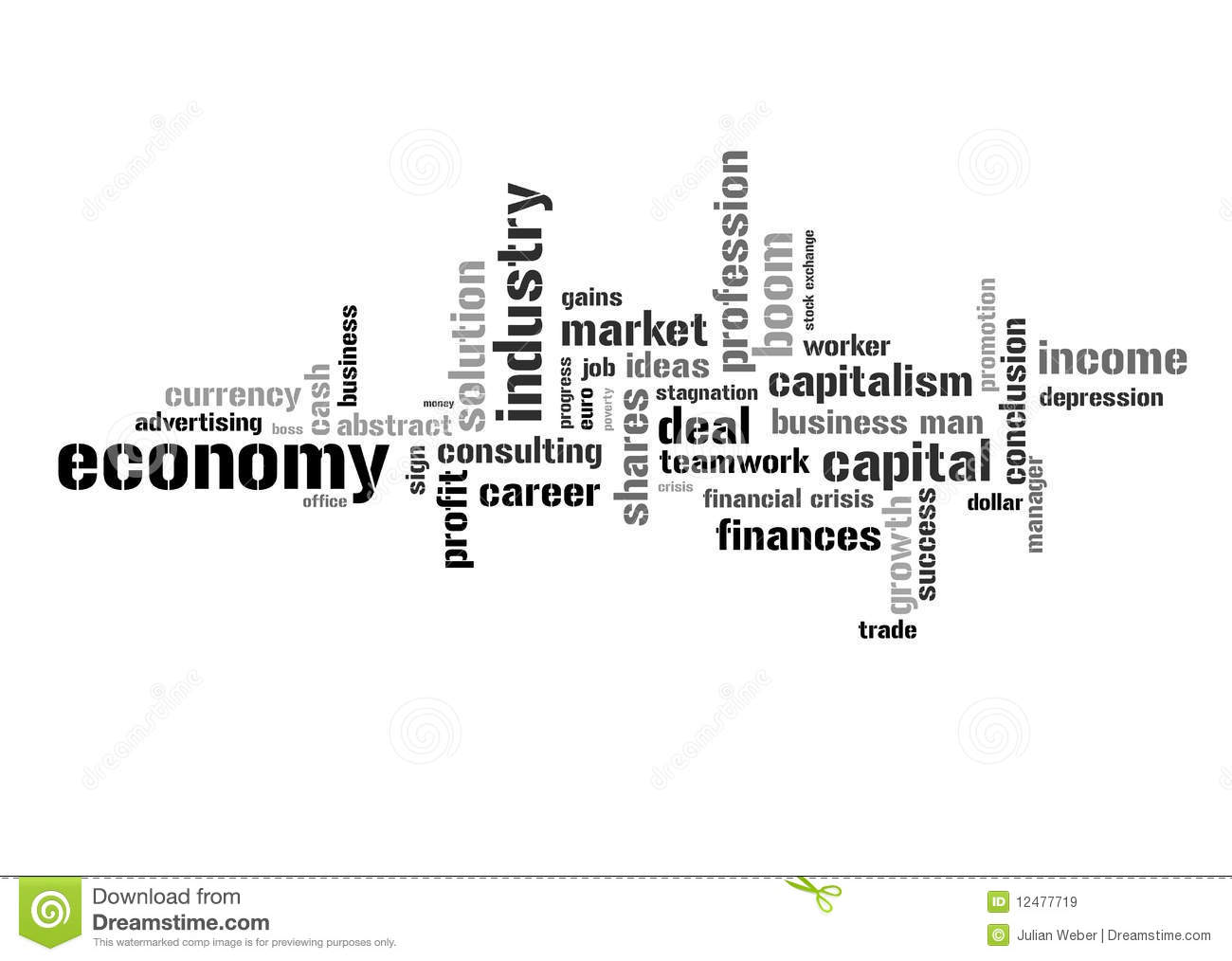 Illustration With Economic Terms Royalty Free Stock Images