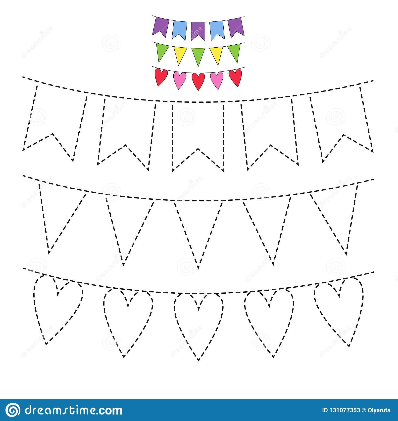 Illustration Of Festive Garlands With Flags For Toddlers