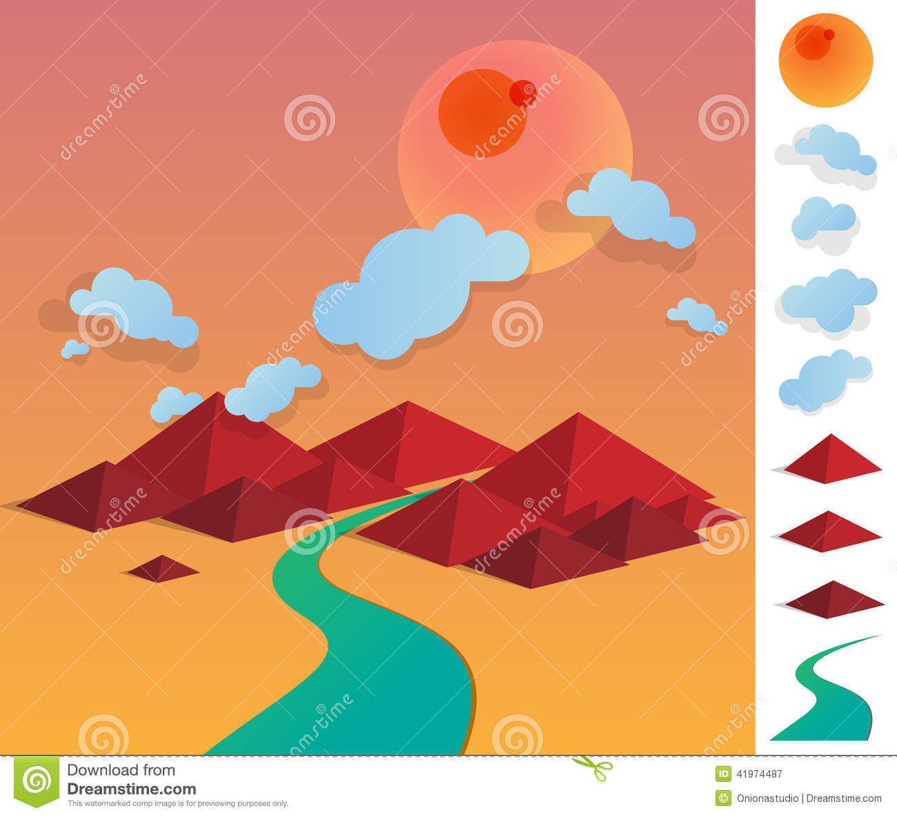 Illustration Of Geometric Landscape With River Between