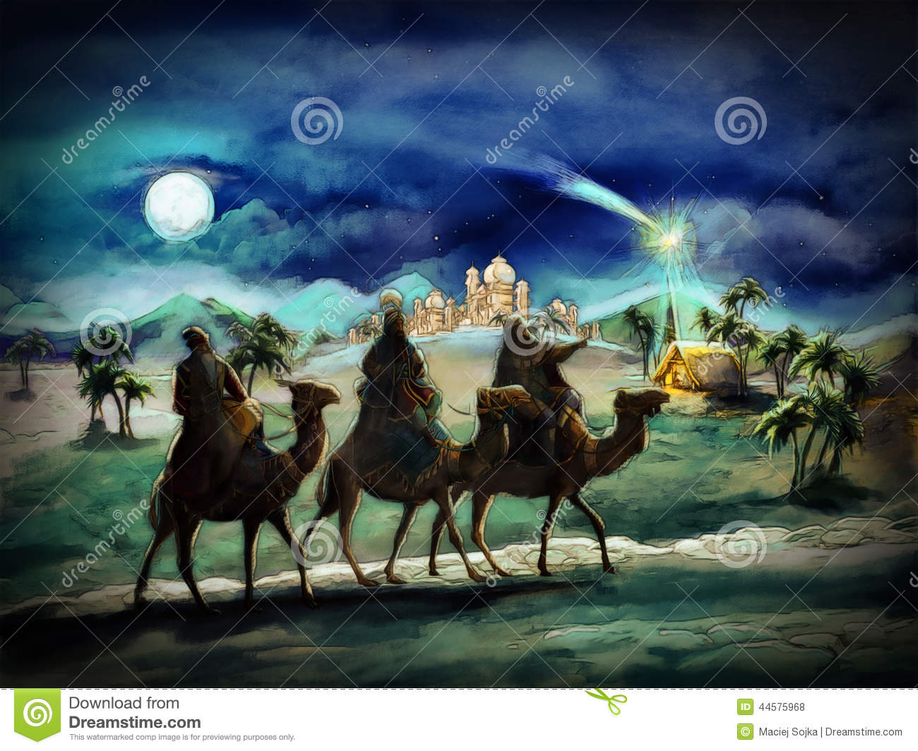 The Illustration Of The Holy Family And Three Kings Stock
