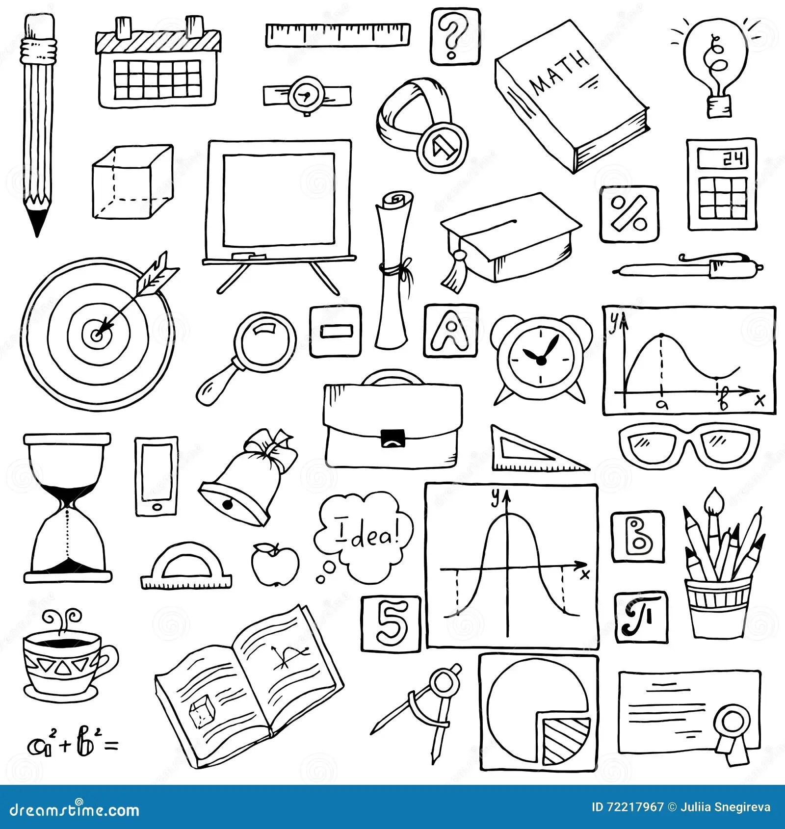 Illustration Of Icons On A Mathematics Theme. Stock Vector