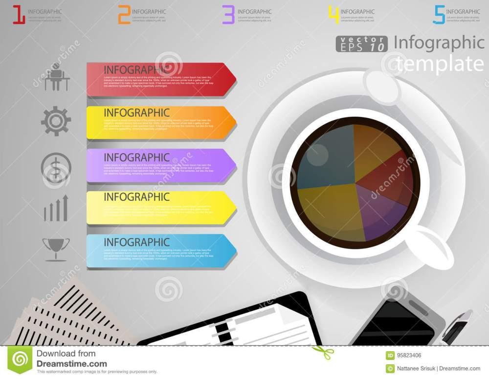 medium resolution of illustration infographic template business modern idea and concept with coffee cup paper diary pen cellphone colorful icon flat design vector