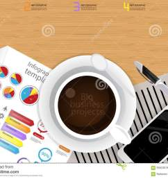 illustration infographic template business modern idea and concept with coffee cup paper diary pen cellphone colorful icon flat design vector [ 1300 x 1003 Pixel ]