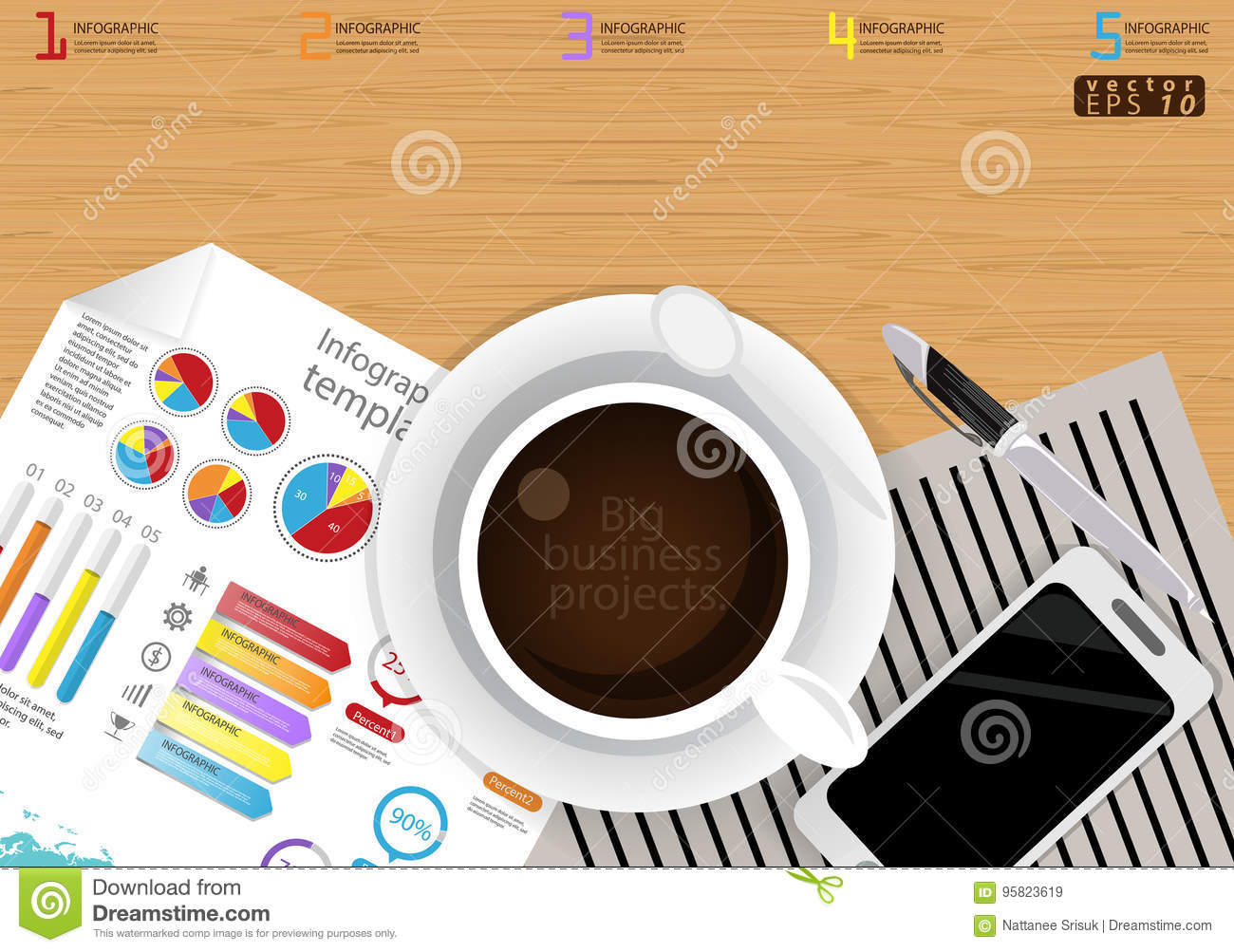 hight resolution of illustration infographic template business modern idea and concept with coffee cup paper diary pen cellphone colorful icon flat design vector