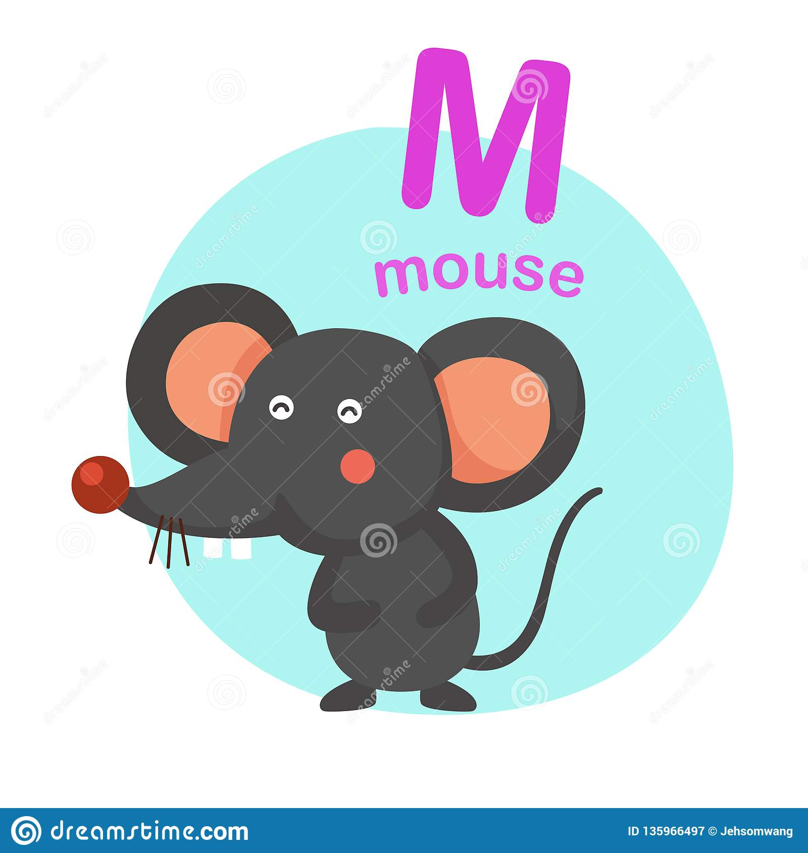 Illustration Isolated Alphabet Letter M Mouse Stock Vector