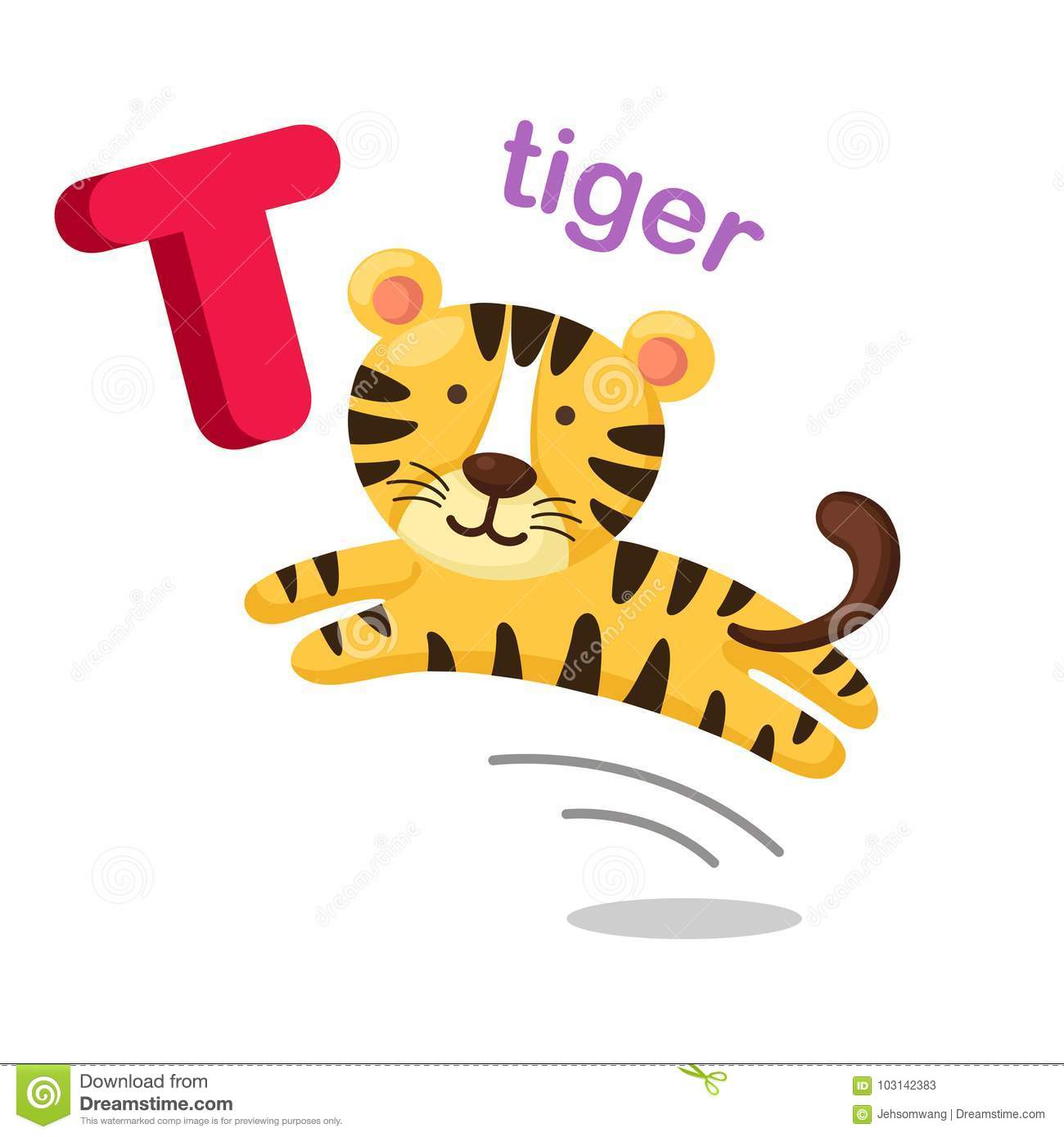 Illustration Isolated Alphabet Letter T Tiger Stock Vector