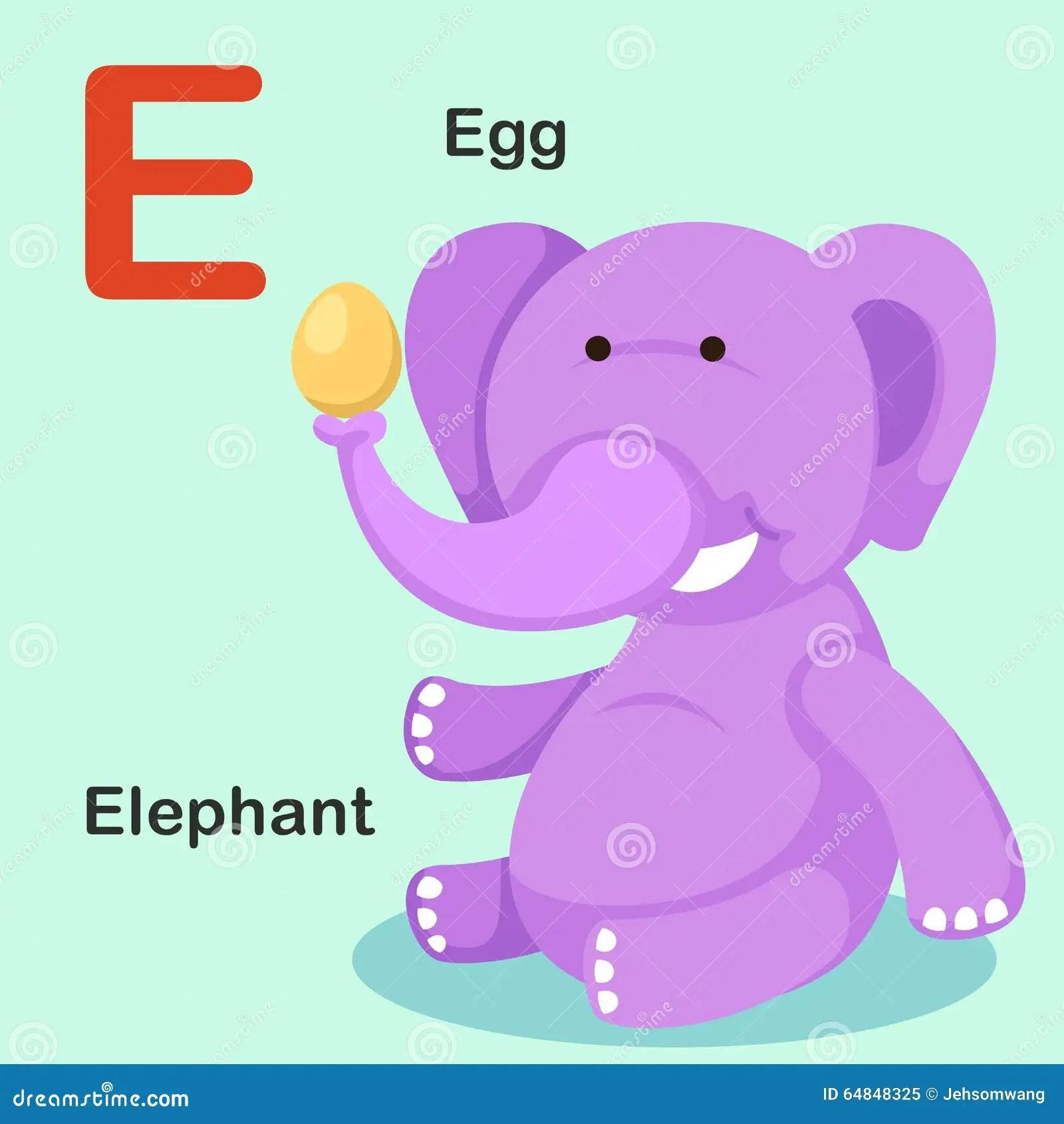 Illustration Isolated Animal Alphabet Letter E Egg Elephant Stock Vector
