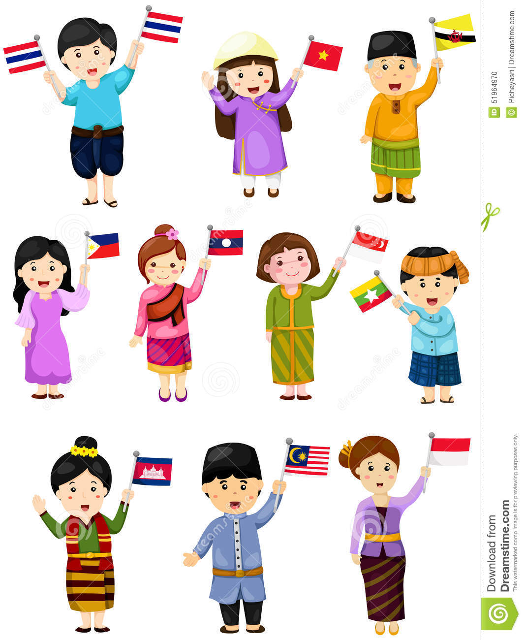 Illustration Of Isolated Set Boys And Girls Of Asean