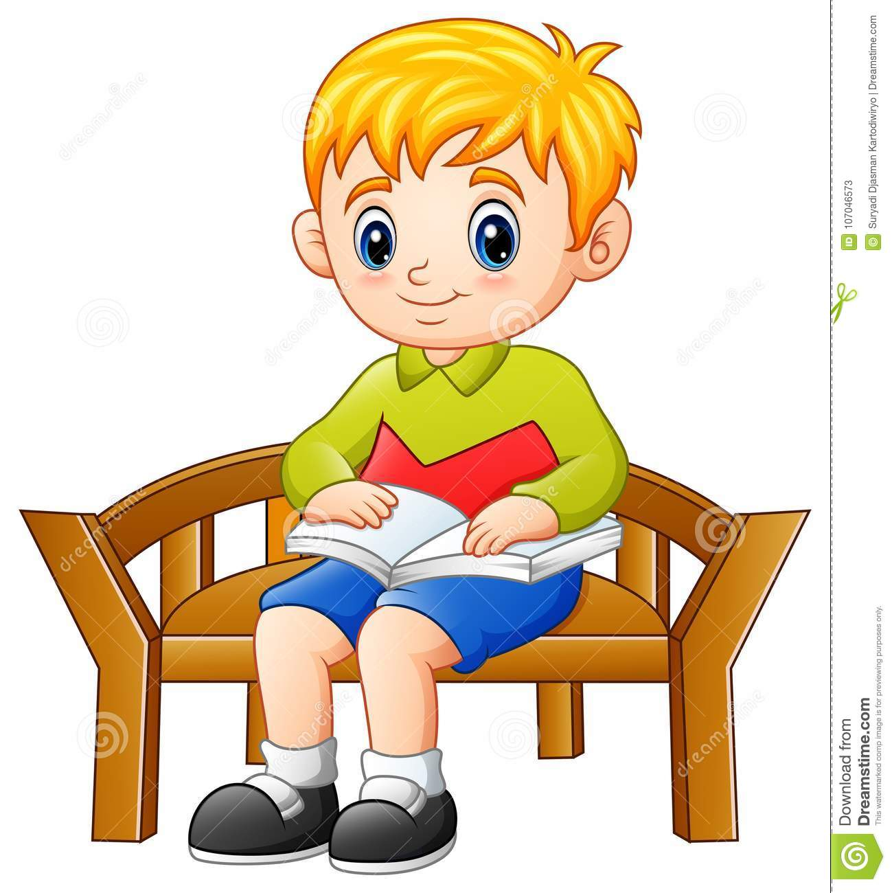 Boys Chair Little Boy Sitting On A Chair Reading A Book Stock Vector