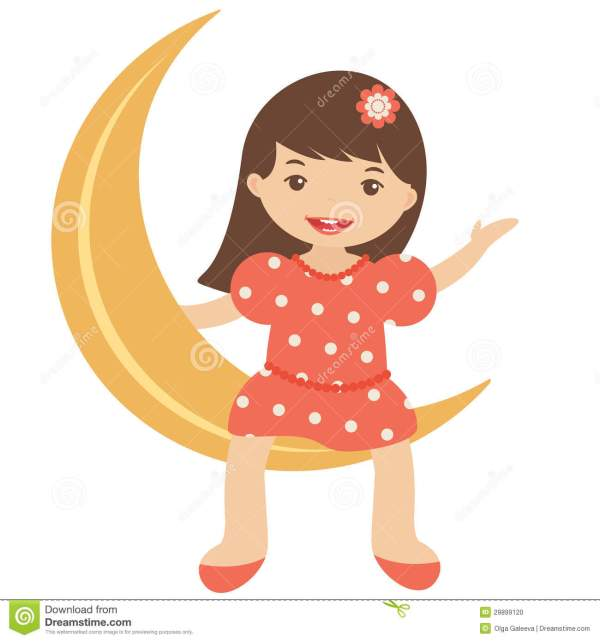 Little Girl Sitting Moon Stock Vector