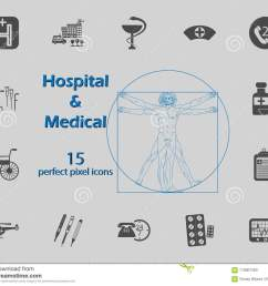 illustration of 15 medical and hospital icons premium quality graphic design signs and [ 1300 x 1130 Pixel ]