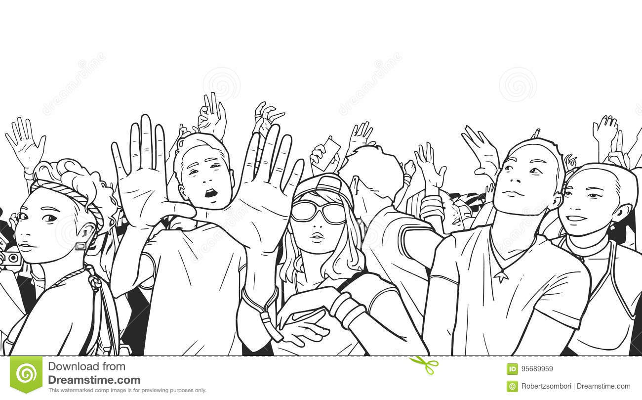 Illustration Of Mixed Ethnic Crowd Cheering With Raised