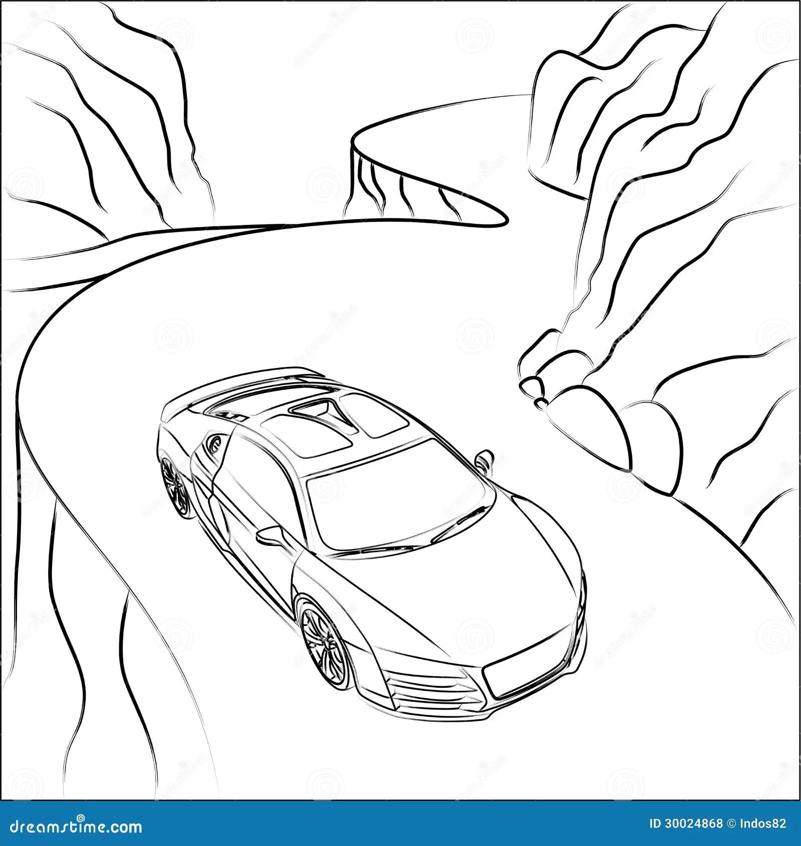 Voiture De Sport Sur La Route De Montagne Illustration De