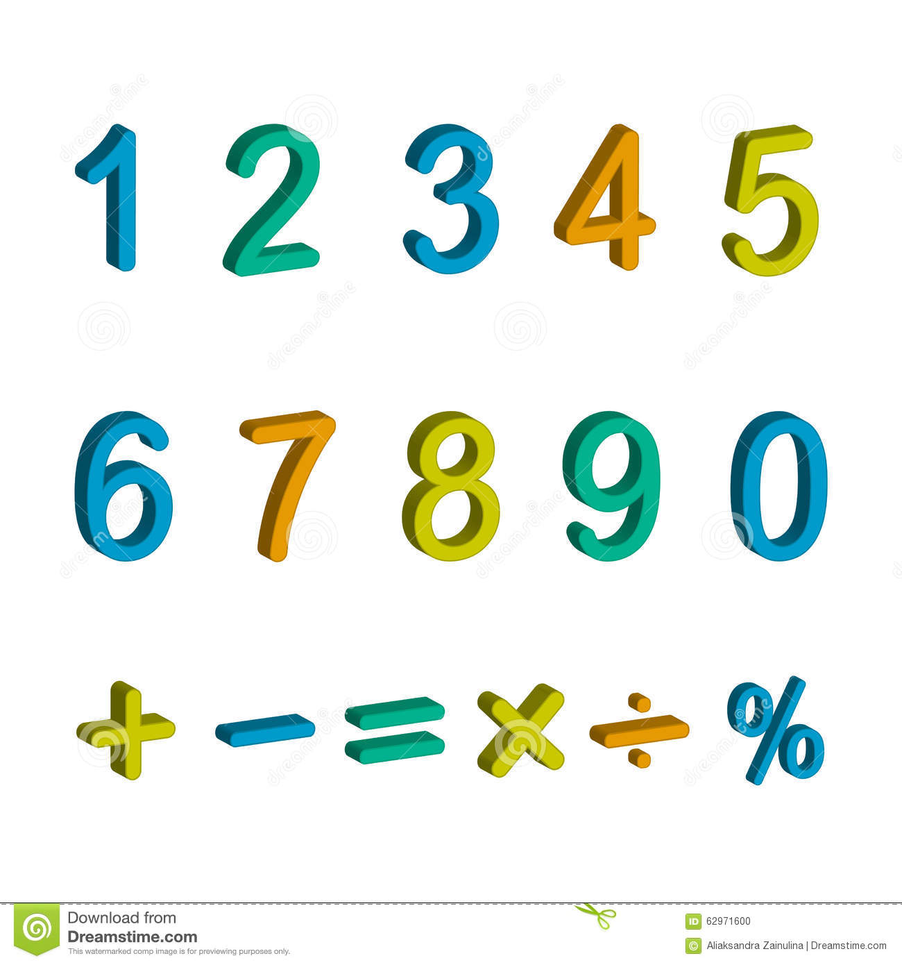 Illustration Of Numbers And Maths Symbols Stock