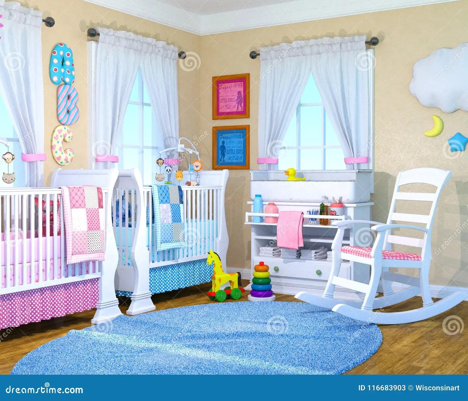 Baby Boy Girl Nusrey Room Babies Stock Image Image of