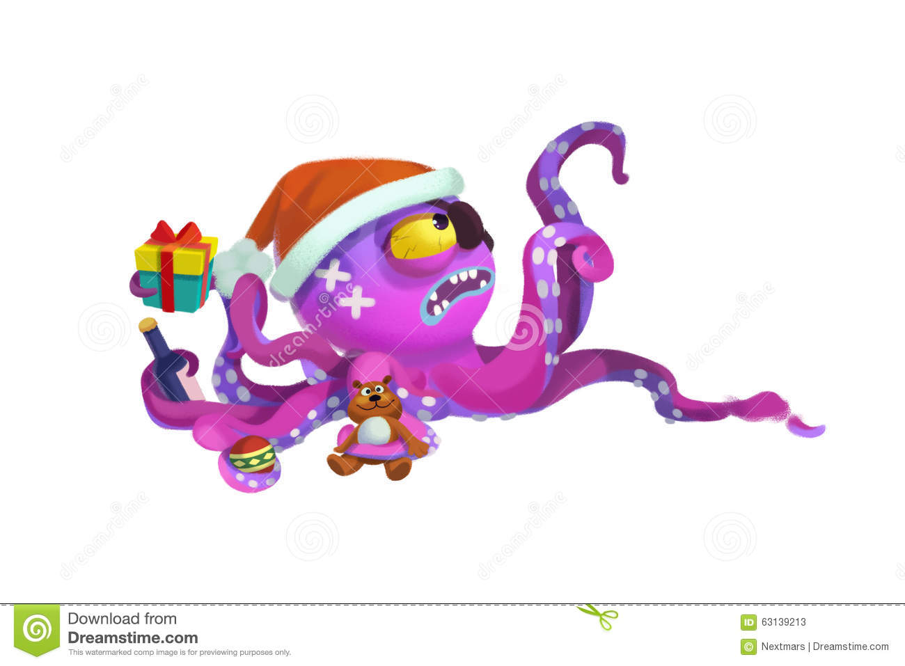 Illustration The Octopus Monster Comes To Wish You Merry