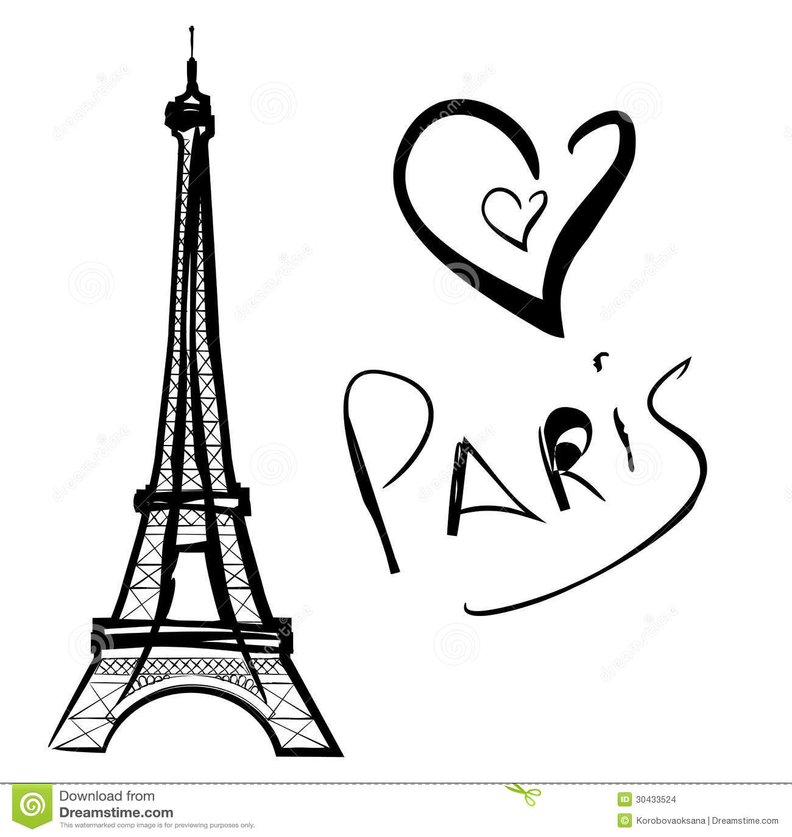 Illustration Of Paris The Eiffel Tower Stock Vector