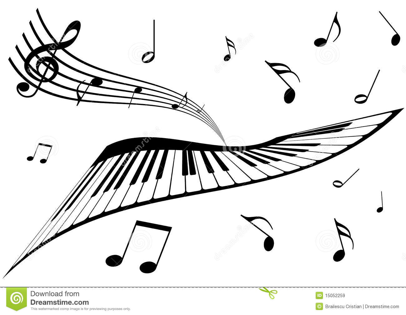 Illustration Of A Piano, A Stave And Music Notes Stock