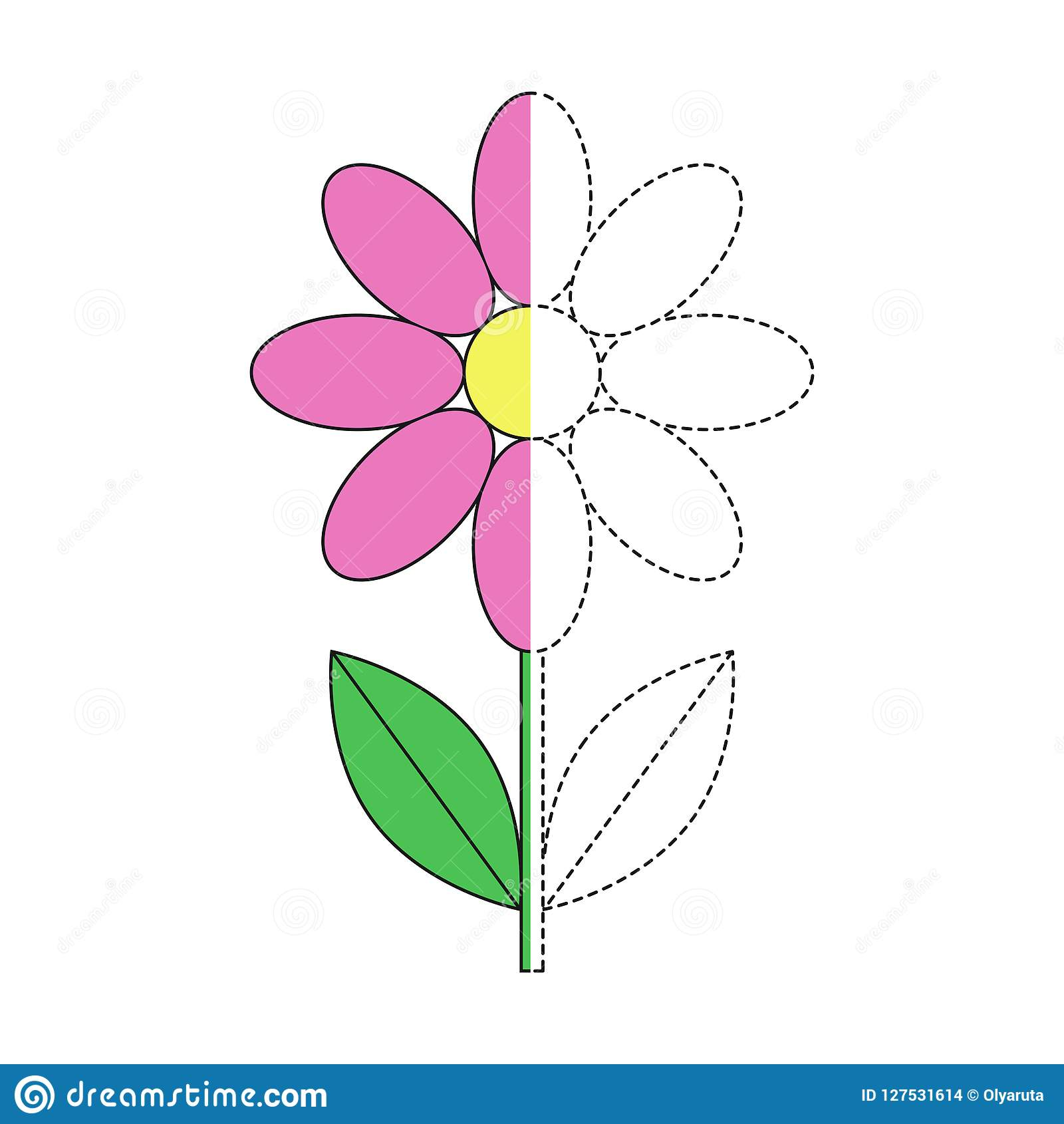 Illustration Of Pink Flower For Toddlers Stock Vector