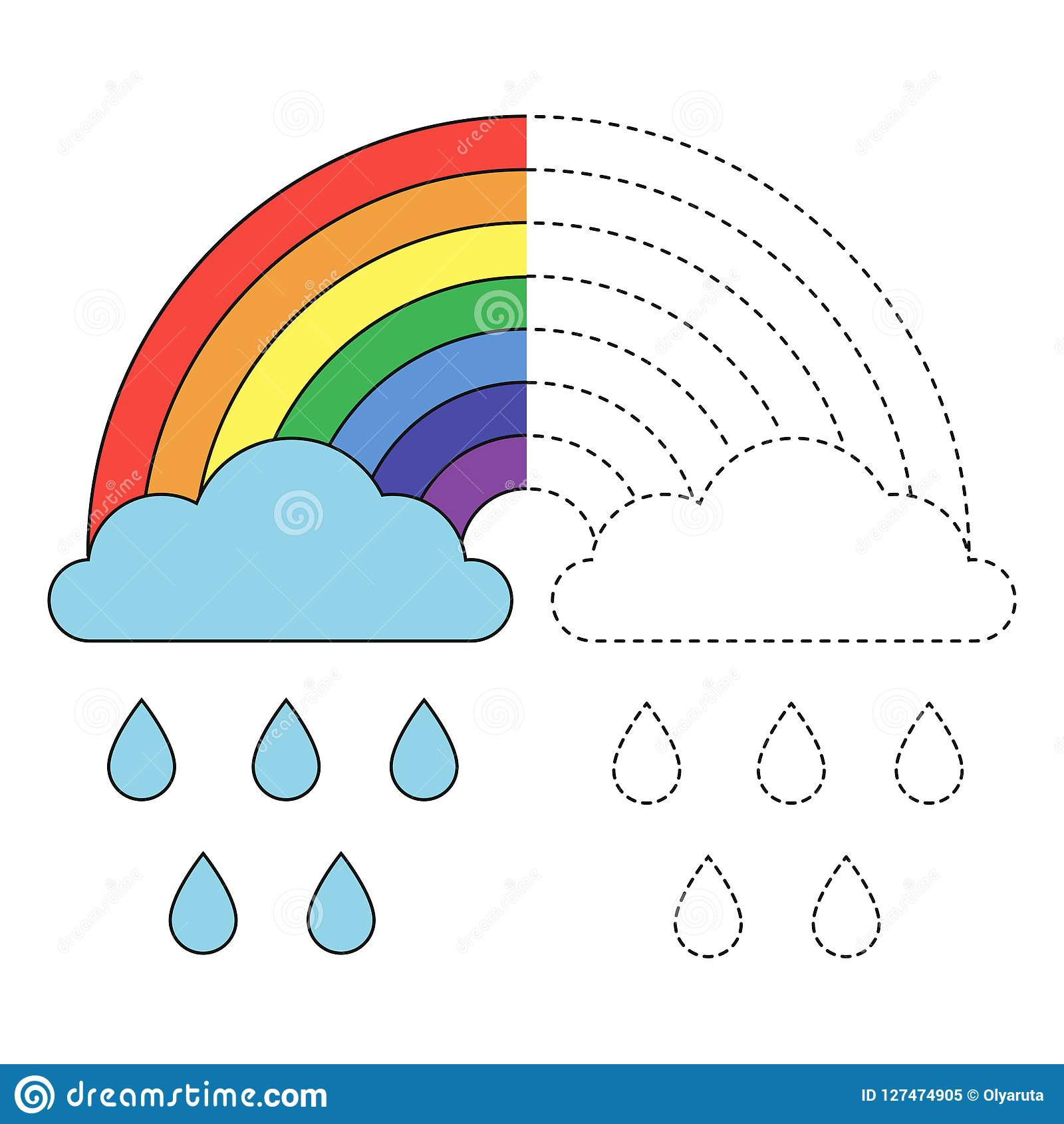 Illustration Of Rainbow Clouds And Raindrops For Toddlers