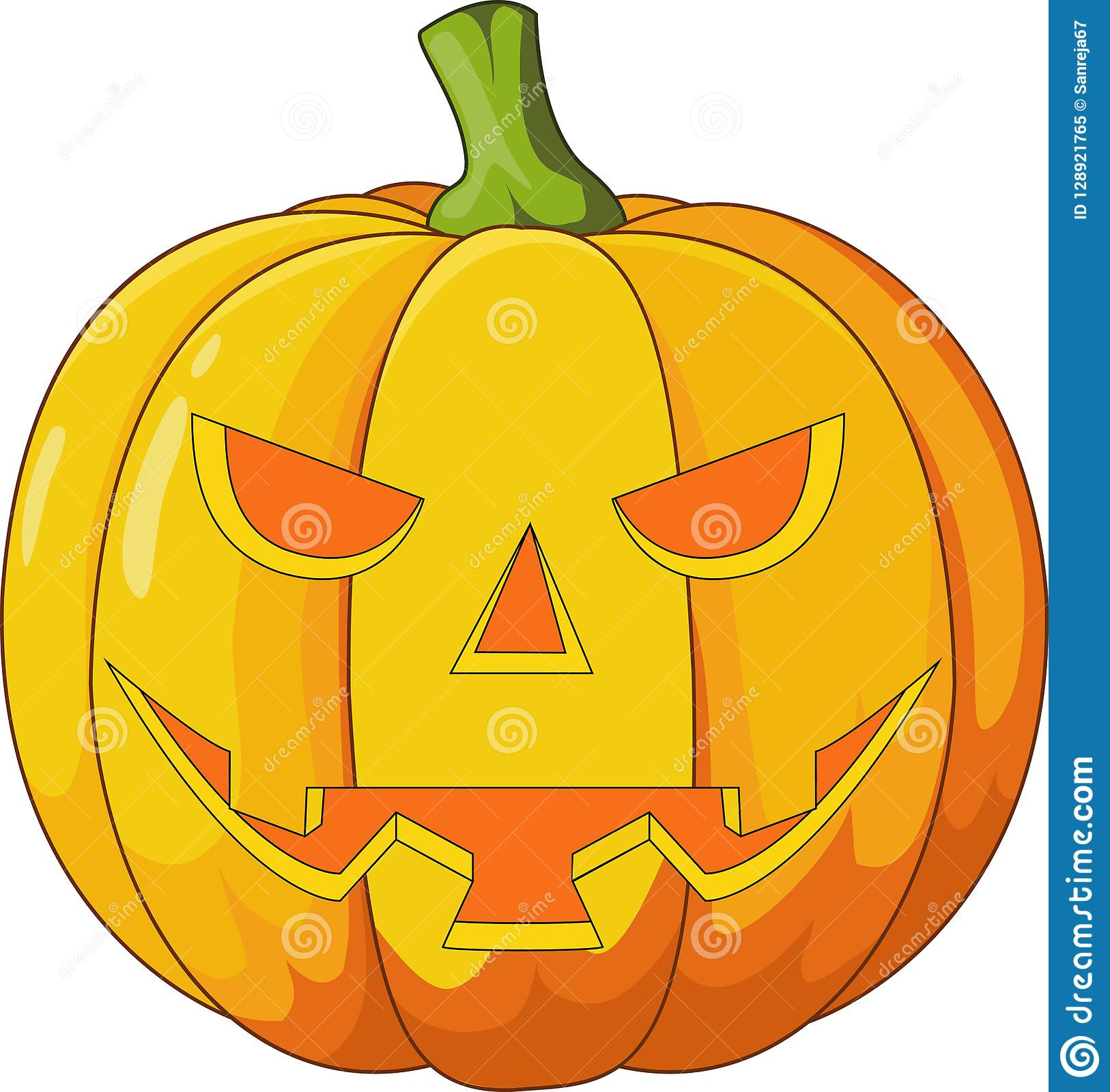 Illustration about illustration of scary halloween pumpkin cartoon. Scary Halloween Pumpkin Cartoon Stock Vector Illustration Of Dark Happy 128921765